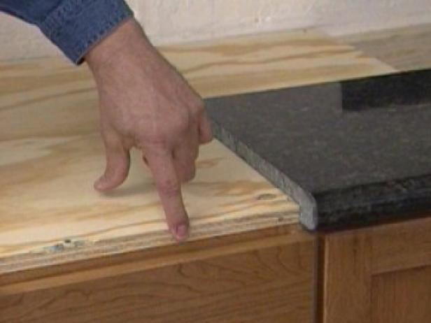 plywood supports the granite