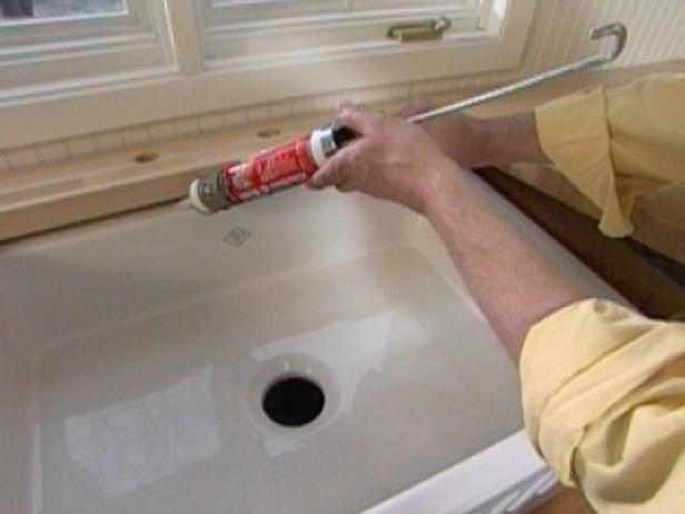 run bead of silicone under edges to seal sink