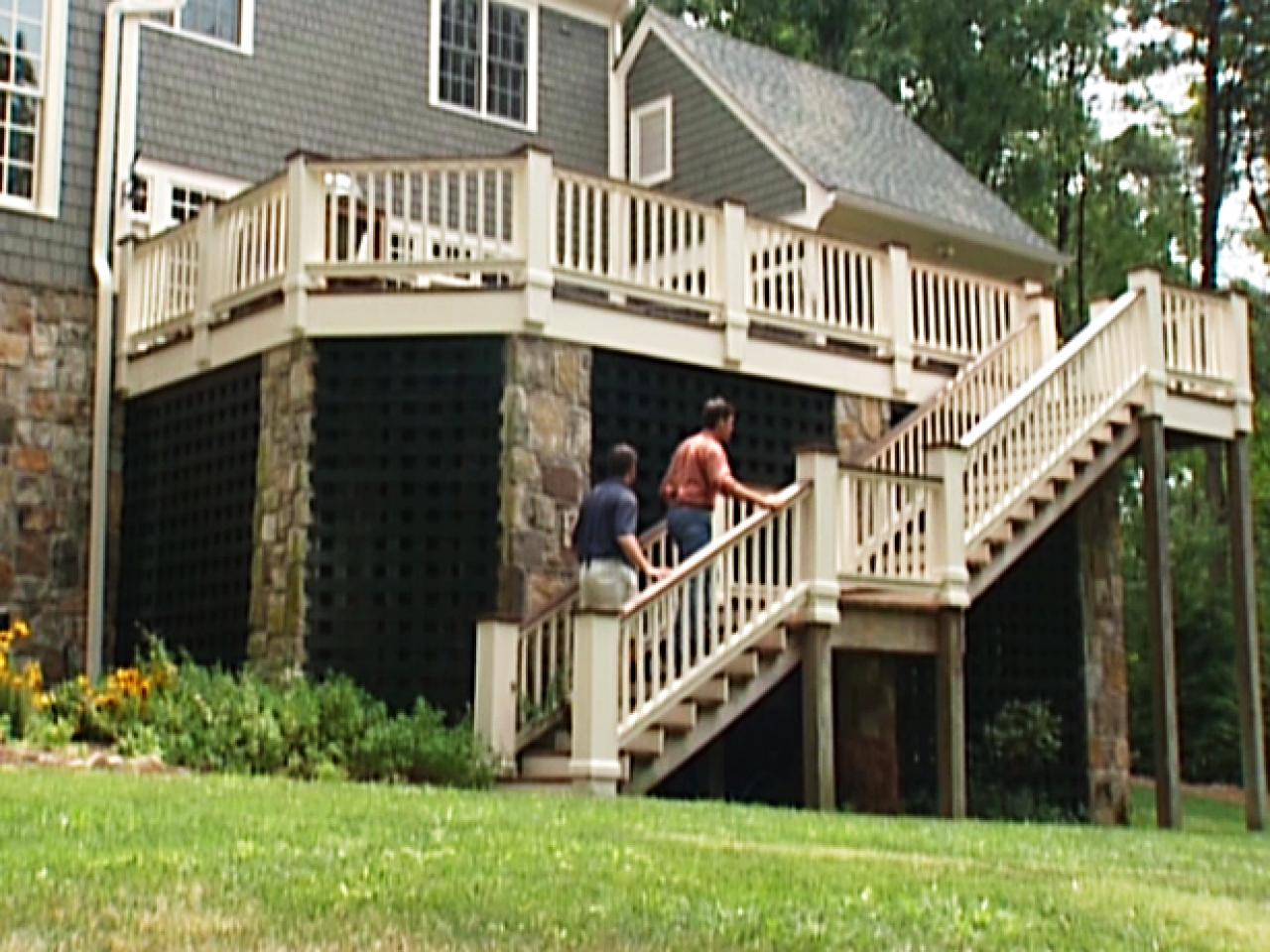 Deck Showcases Lattice Work And Tall Staircase