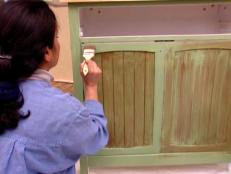 thin coat of glaze added cabinet for texture