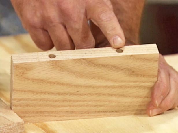 drill holes in wood block