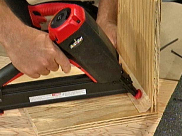 angle finish nailer used on crown molding crevices