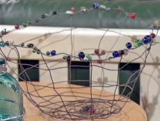 decorative wire basket with glass beads