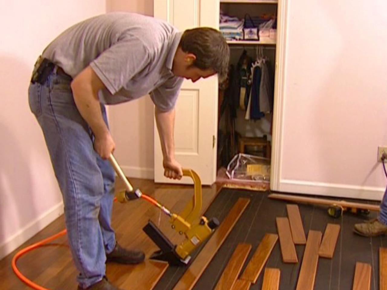 How to install a hardwood floor how tos diy for Hardwood installation