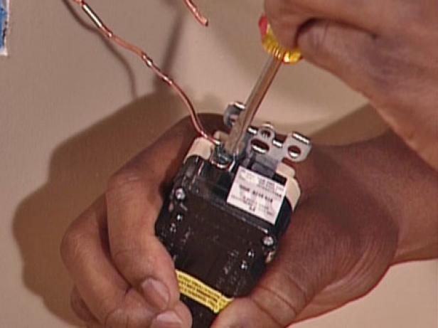 start with ground wire to attach GFCI