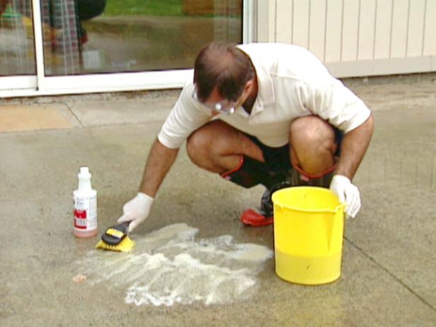clean concrete with non residue cleaner and brush