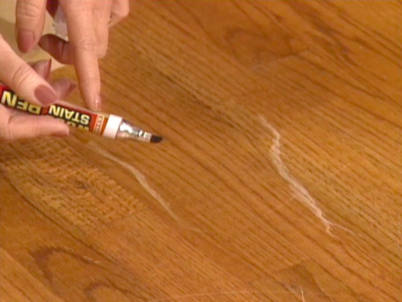 Hardwood Floor Scratch Repair how to repair scratches in a manufactured hardwood floor flooring tips Felt Tip Touchup Pen Uses Wood Stain For Scratches