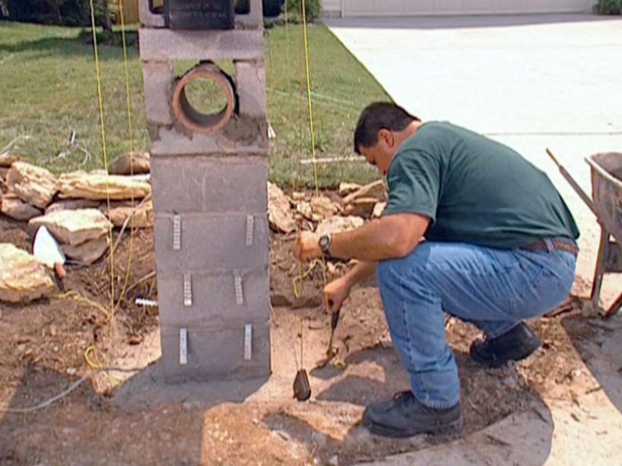 How to set stones for a stone column mailbox how tos diy for How to build a house on pillars