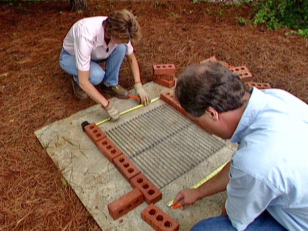 lay bricks end to end around perimeter of slab