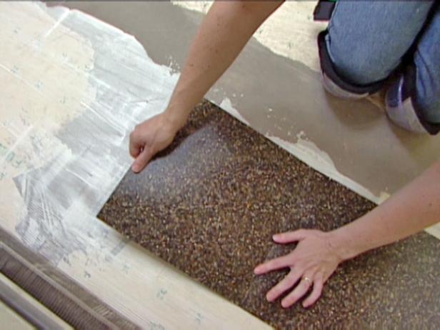 terrazzo tiles are set in adhessive