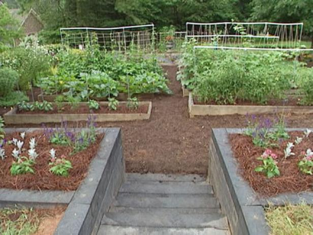 cottage gardens are planted in small square plots