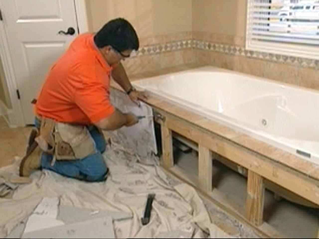 Claw foot tub installation surround demolition how tos diy - Installing tile around bathtub ...