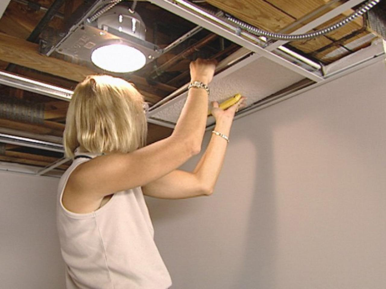 How to install an acoustic drop ceiling how tos diy drop ceiling panels into position doublecrazyfo Choice Image