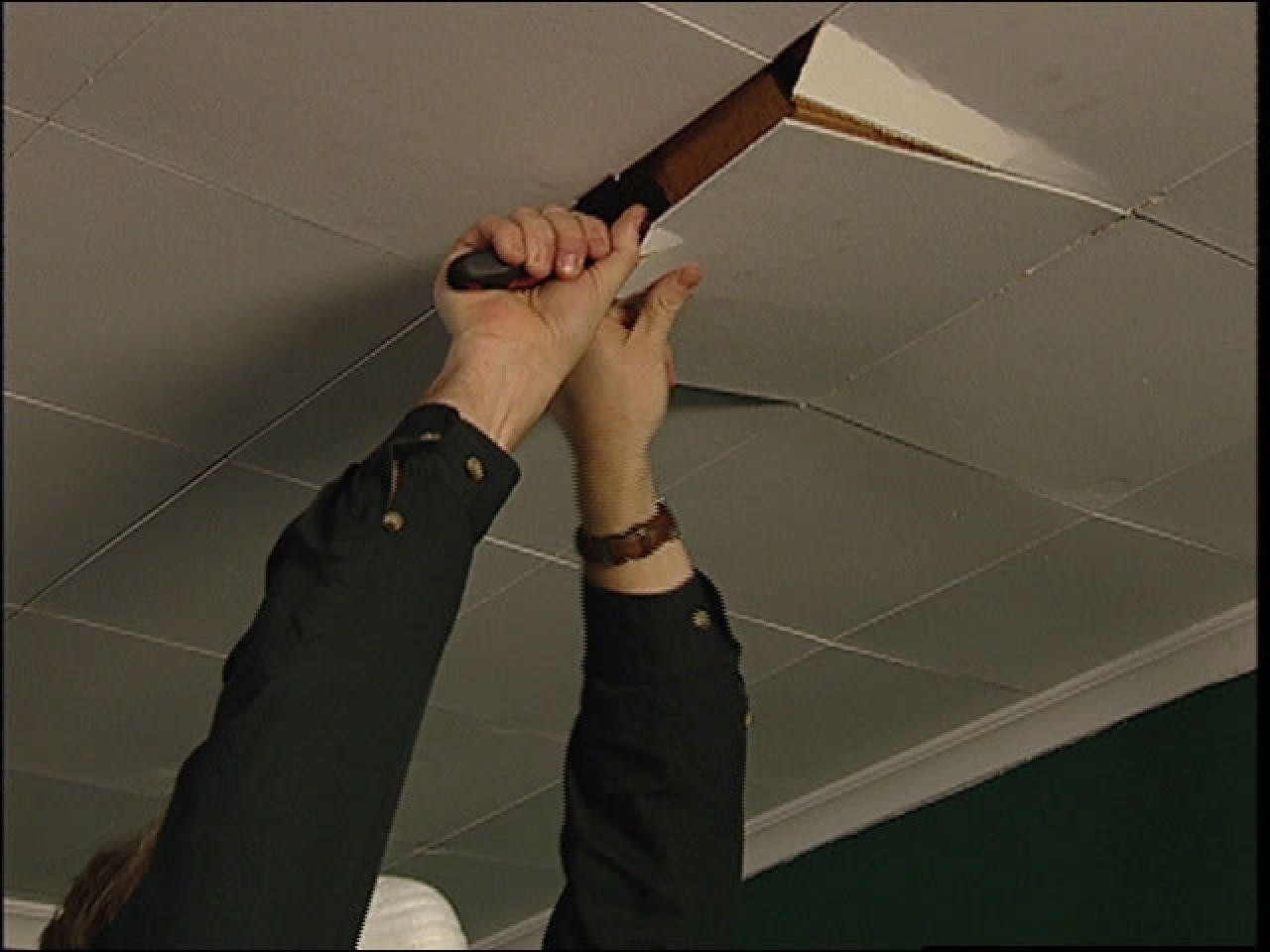 How to replace ceiling tiles with drywall how tos diy step 1 doublecrazyfo Choice Image