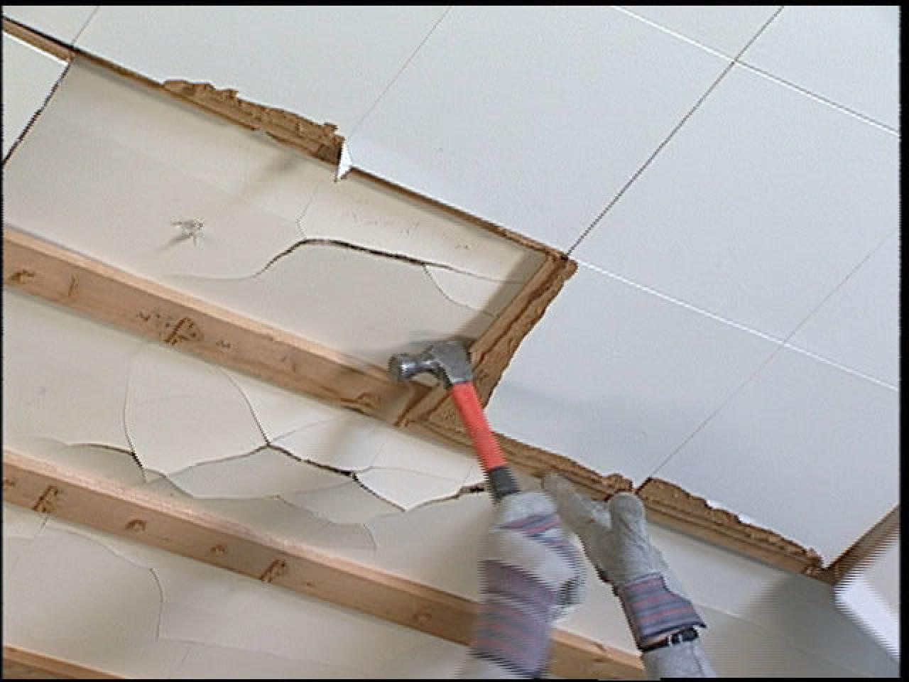 How to replace ceiling tiles with drywall how tos diy pull old tiles loose after removing crown molding doublecrazyfo Choice Image