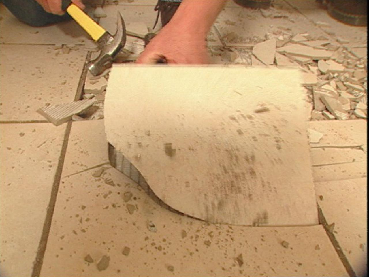 How to remove tile flooring how tos diy rmoving the old tile doublecrazyfo Image collections