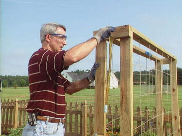 attach board across supports to form trellis