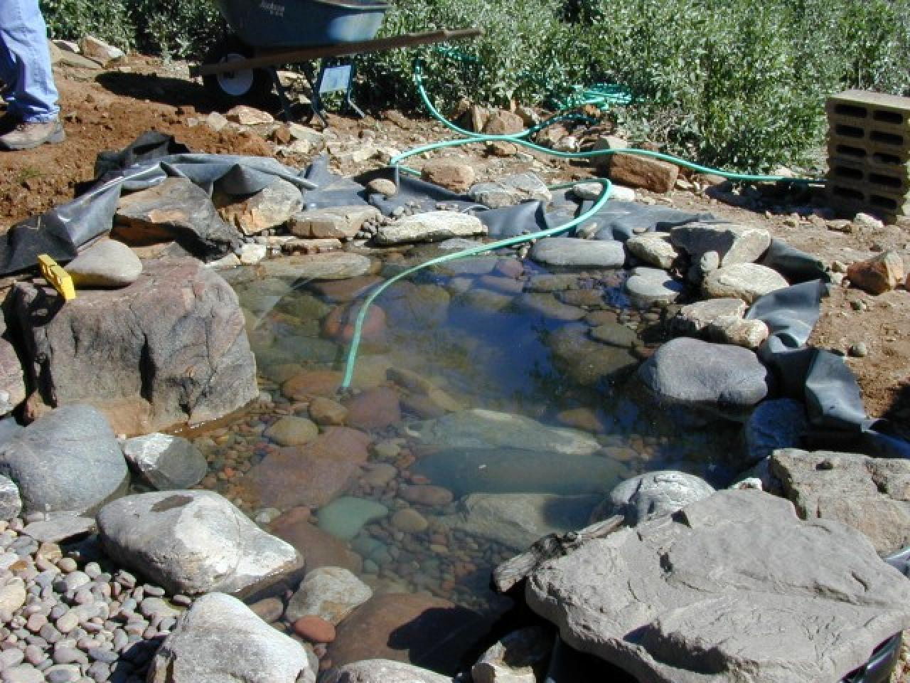 How to create a pond and stream for an outdoor waterfall for Diy garden pond filter