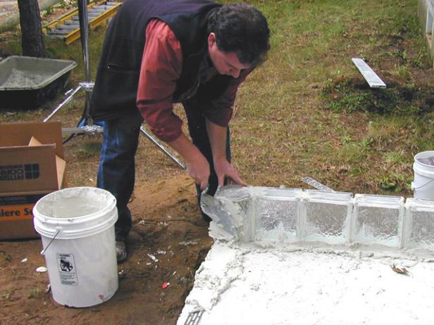 begin setting glass blocks at corners