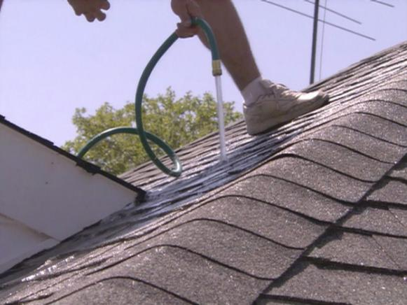 use garden hose on the roof to find leak