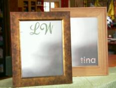 glass transformed into monogrammed mirror