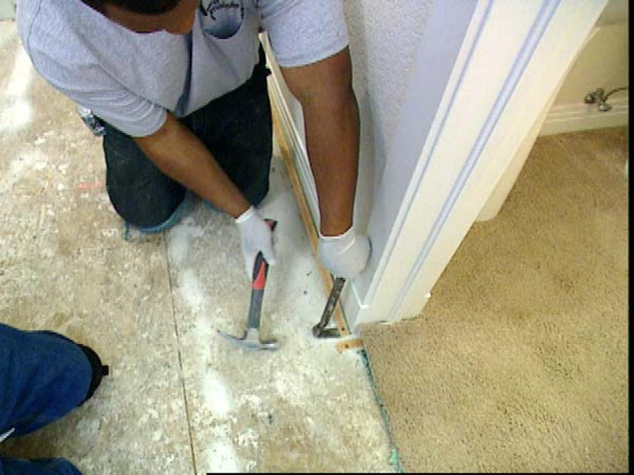 How to install tile flooring how tos diy pull up carpet pad and pry up all tack strips doublecrazyfo Choice Image