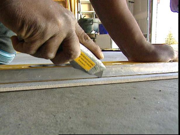 how to cut an existing tile floor