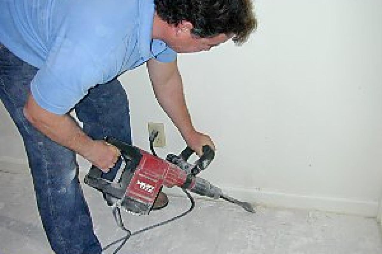 How to install natural stone tile flooring how tos diy remove the old thinset dailygadgetfo Image collections