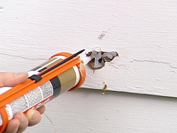 fill exposed hole with silicone caulk