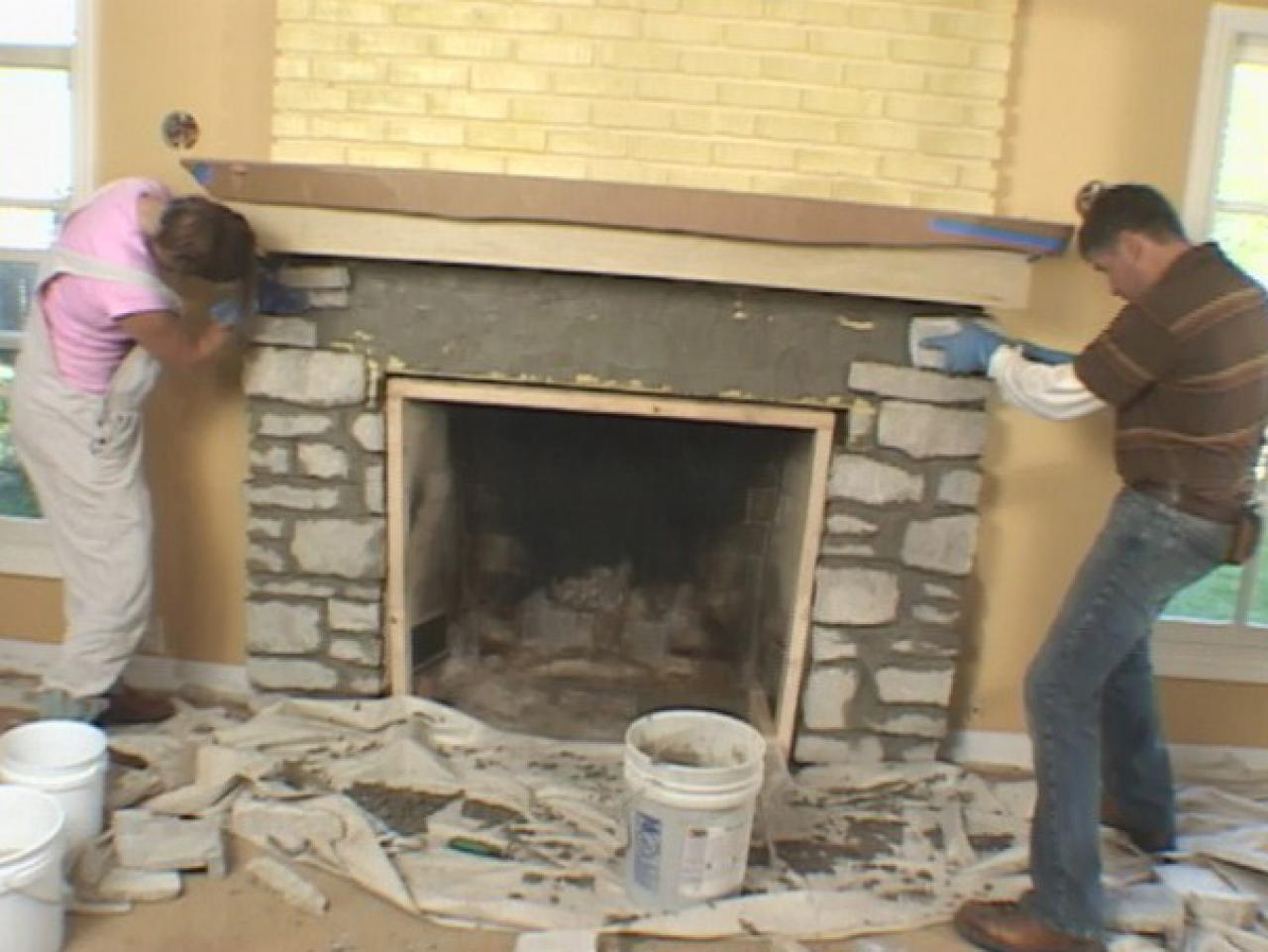 Install a Fireplace Mantel and Add Stone Veneer Facing | how-tos | DIY