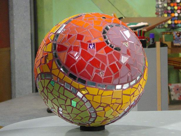 unique and whimsical garden sphere mosaic