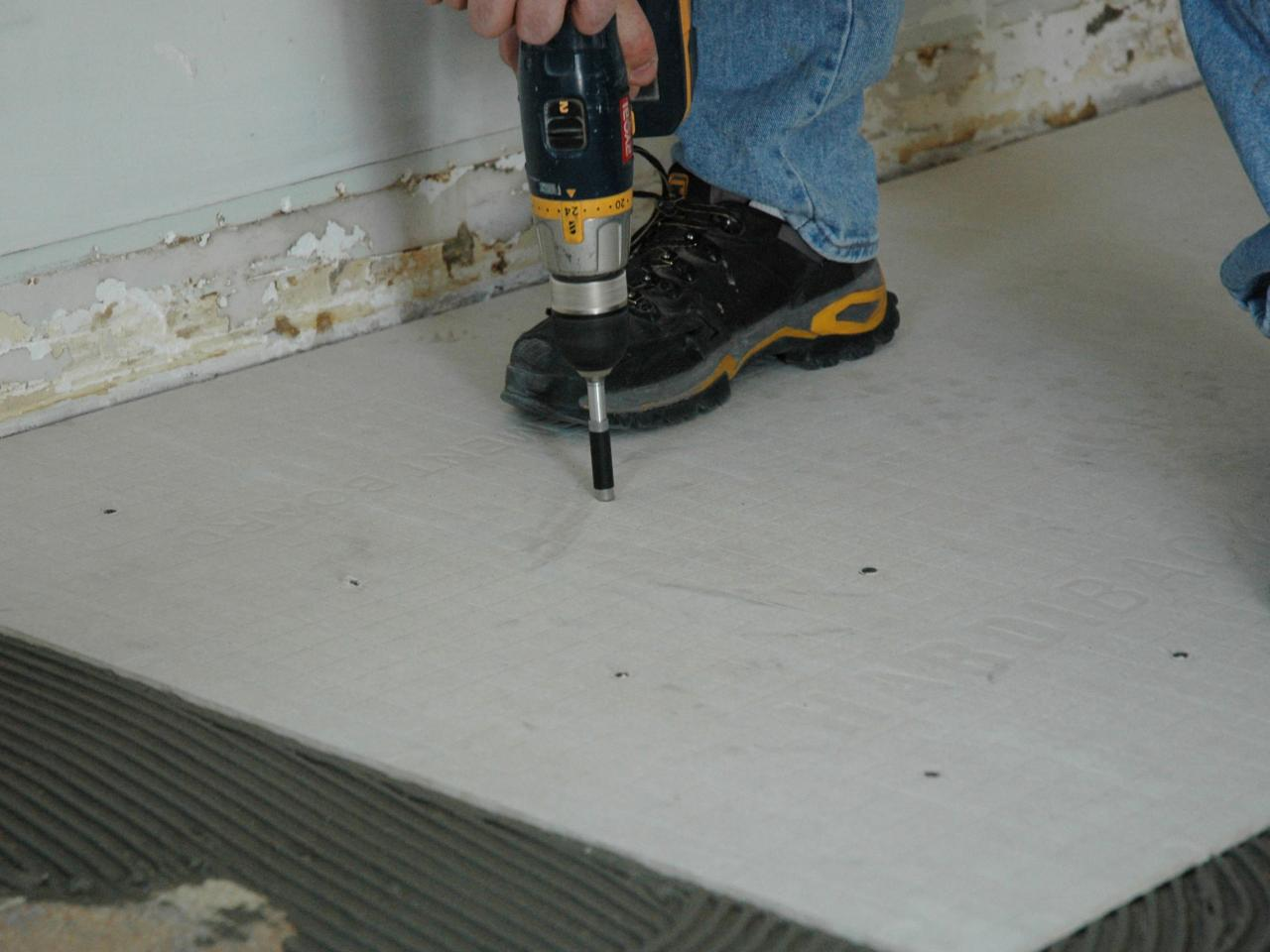 How to install a tile floor in a kitchen how tos diy lay down the backer board dailygadgetfo Image collections