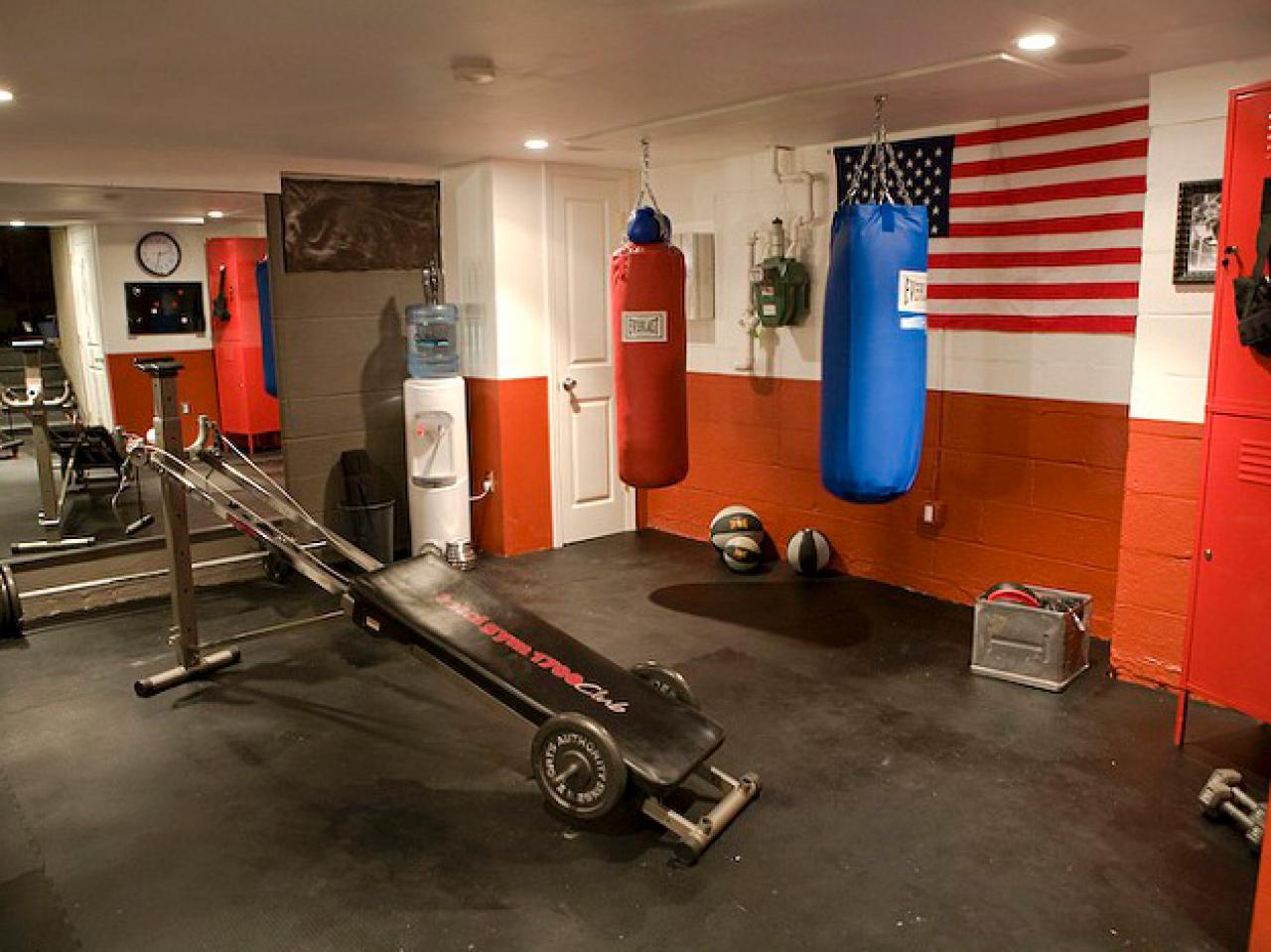 home fight club this new home gym man cave includes punching bags ...