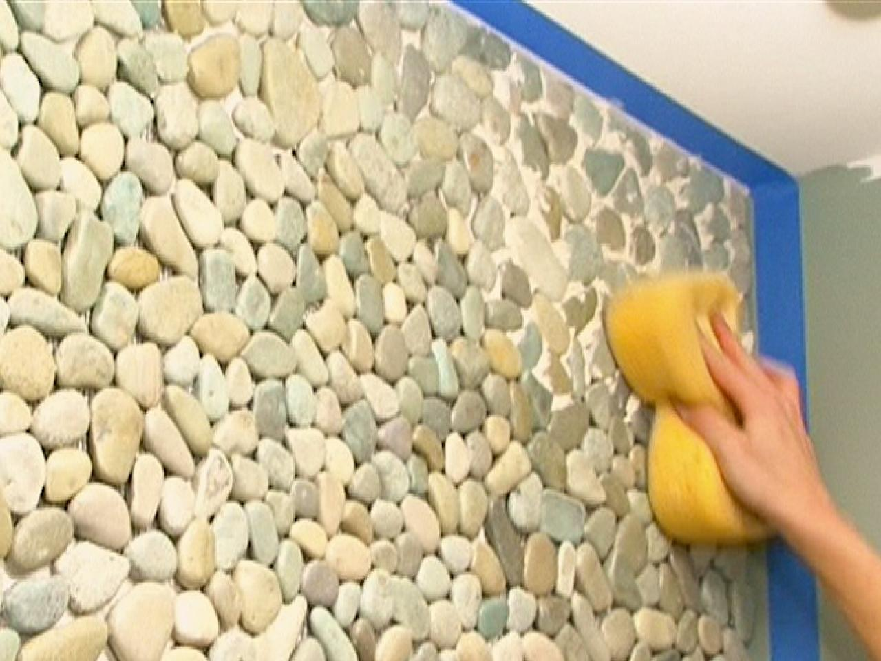 How to apply pebble tile on a wall how tos diy for Carrelage en galets salle de bain