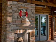 Back Porch with Stone Fireplace