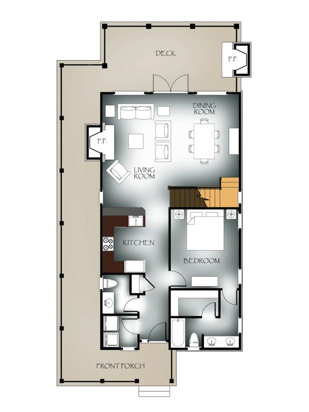 First-Floor Plan: Vaulted-View Lodge Floor Plan Winner