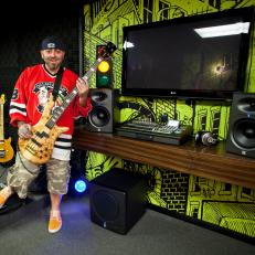Duff Goldman With Guitar in Man Cave