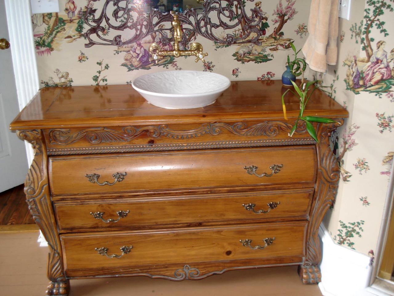 Using vintage furniture in the bathroom diy for Used antique furniture