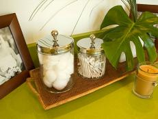 Decorative Containers, Pictures, and Other Items on Counter