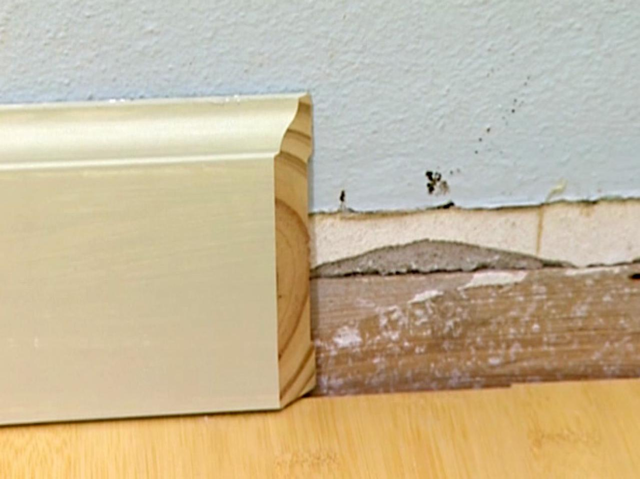 How to cut base molding in place - Nail The First Piece Of Baseboard Into The Wall At