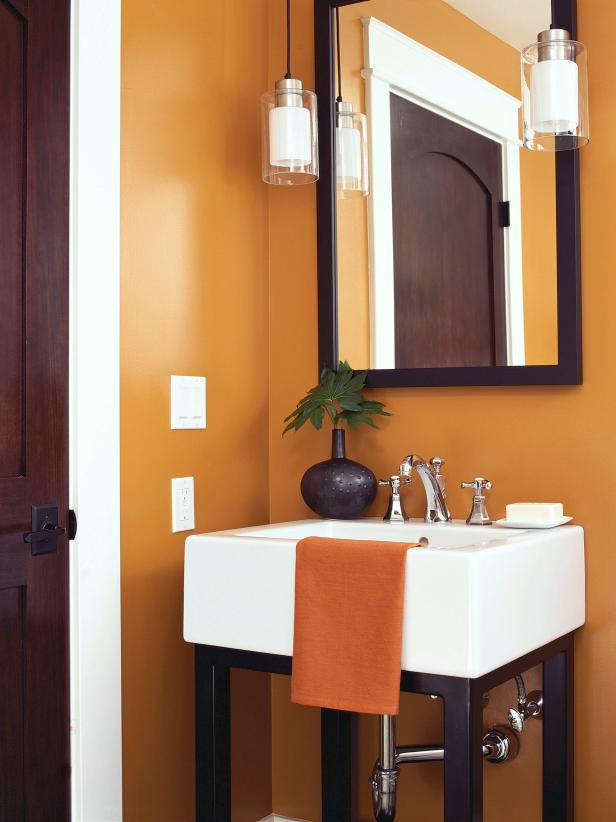 Fiery Orange Guest Bath With Square-Trough White Sink and Pendant Lights