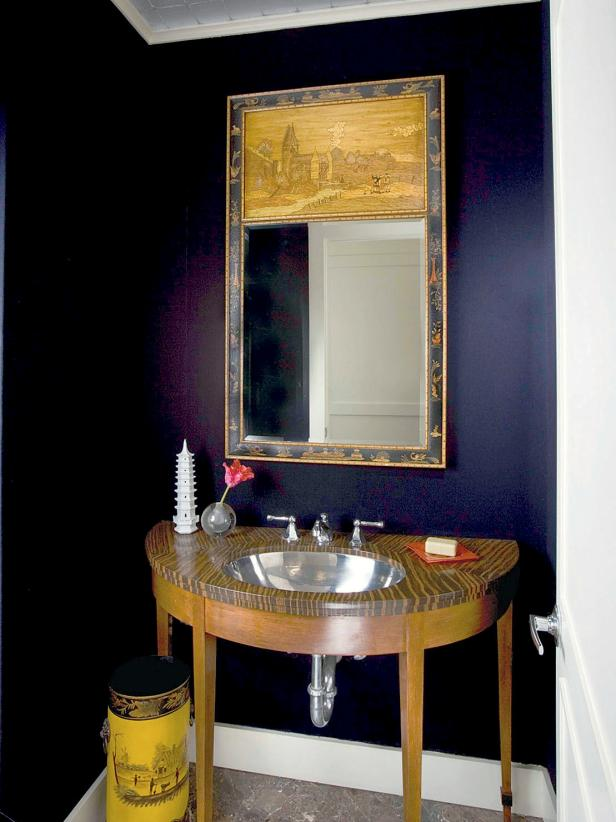 Black Guest Bath With Polished Chrome Undermounted Sink Faux Zebra-Wood Vanity