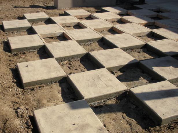 Once the concrete has set up about 24 hours later, remove the frames to reveal your chessboard pattern.