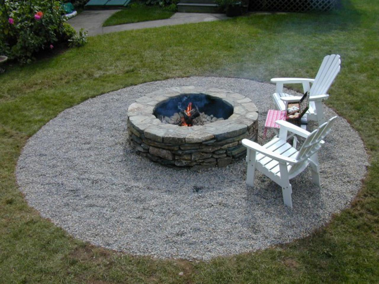 Backyard Fire Pit Designs roast and relax Fill In Surrounding Area With Landscape Fabric