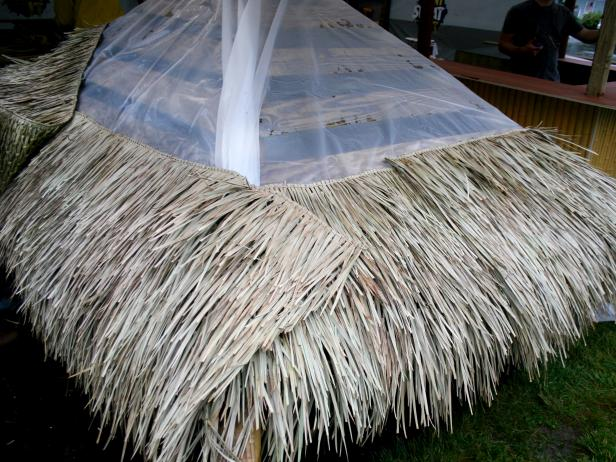 Attach Tiki Bar Thatching Roof