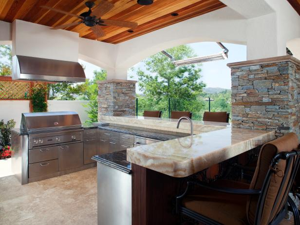 Stone Outdoor Kitchen With Fume Hood