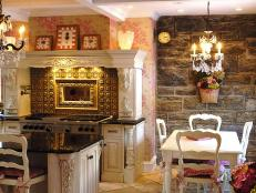 Shabby Chic Kitchen with Romantic Stone-Wall Dining Room