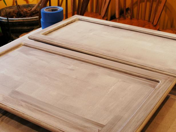 Closeup of kitchen cabinet doors after they were sanded.