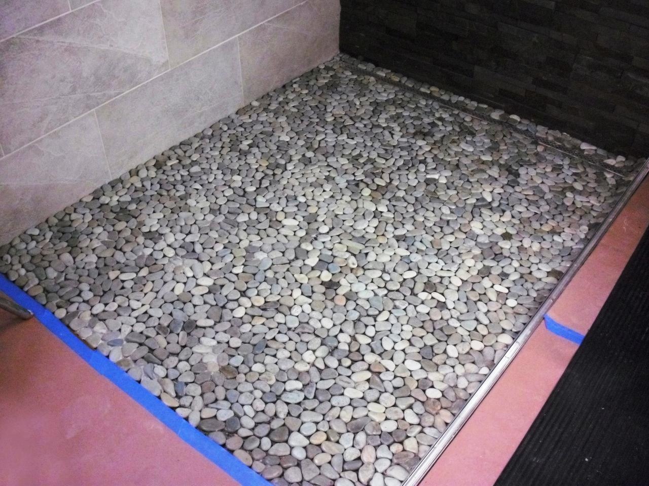 How To Lay A Pebble Tile Floor How Tos Diy