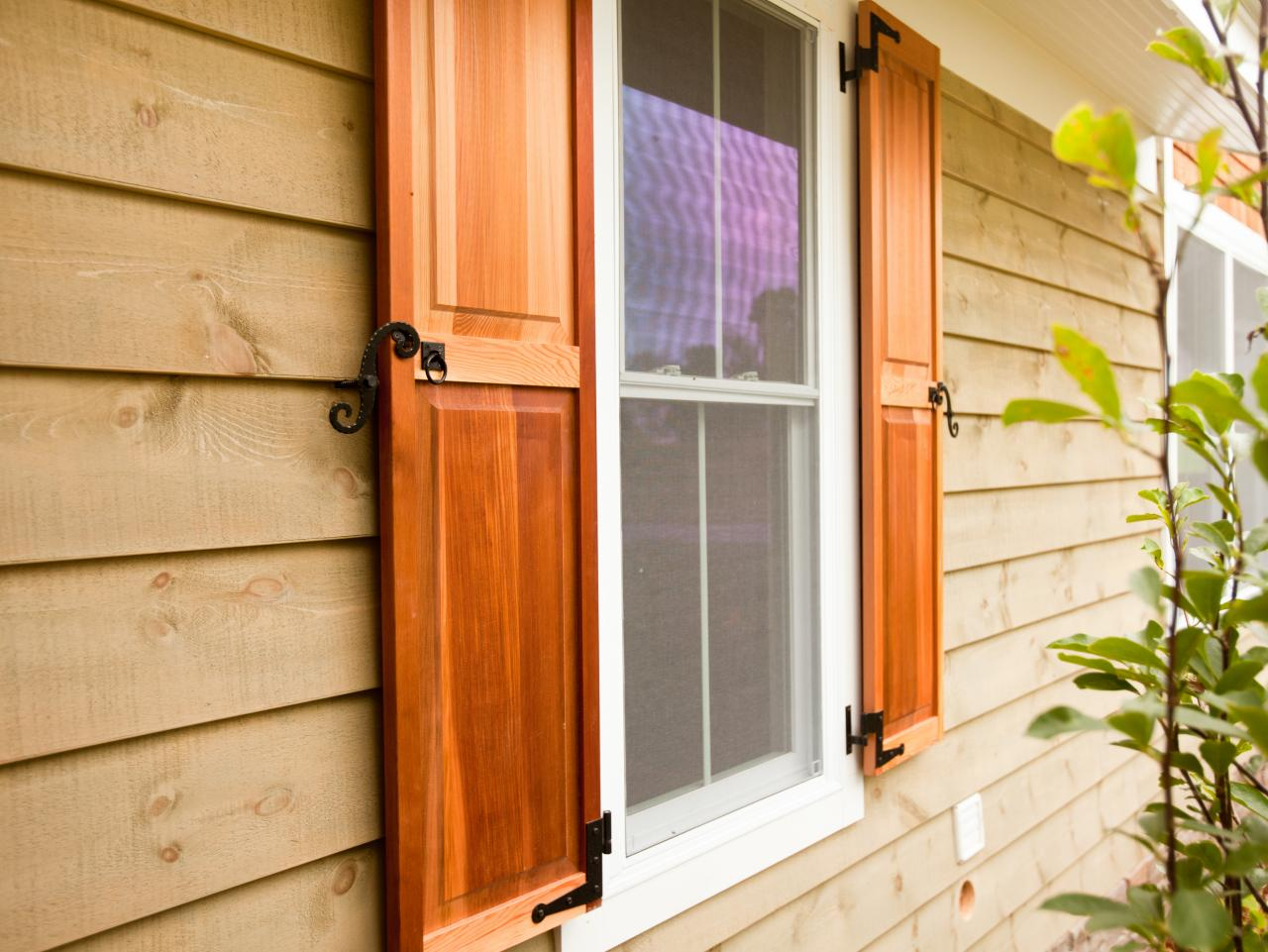 Here are the four types of exterior window shutters diy for Wood doors and shutters